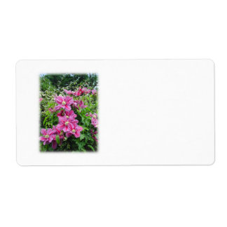 Clematis Pretty Pink - Purple Flowers Personalized Shipping Labels