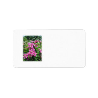 Clematis Pretty Pink - Purple Flowers Personalized Address Label