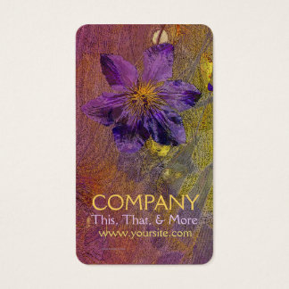 Clematis Purple Yellow Orange Business Card