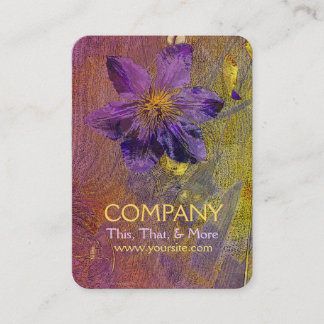 Clematis Purple Yellow Orange Business Card