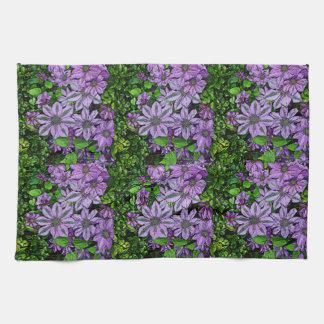 Clematis púrpura toallas de mano