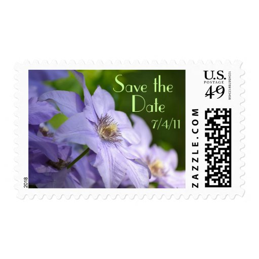Clematis Save the Date Postage Stamp