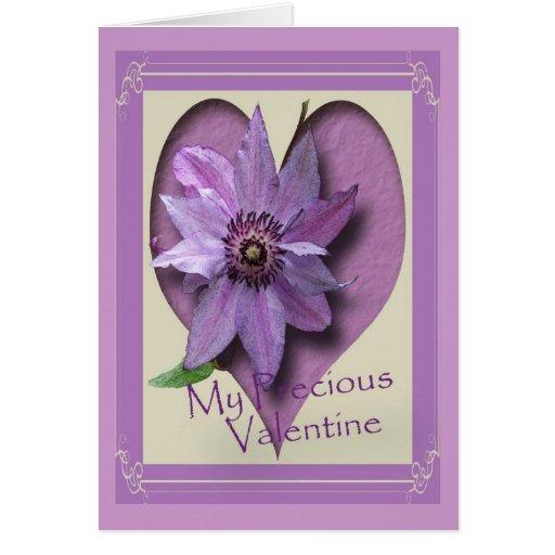 Clematis y corazón de la lila tarjeta de felicitación