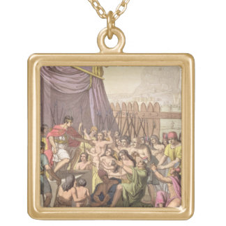 Clemency of Mayta-Capac: offers pardon to conquere Square Pendant Necklace