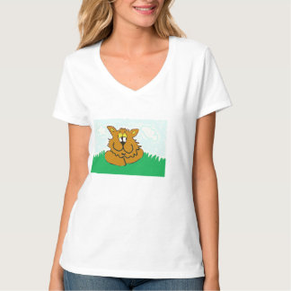 Clemens cat in the greengrass large tshirt. tee shirts