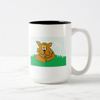 clemens the cat on a mug. Two-Tone coffee mug