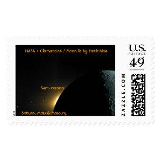 Clementine / Moon / Saturn / Mars / Mercury Stamps