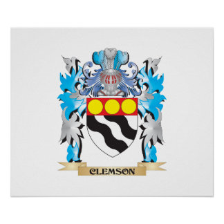 Clemson Coat of Arms - Family Crest Poster