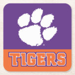 """Clemson Tigers Square Paper Coaster<br><div class=""""desc"""">Check out these new Clemson University designs and products! At Zazzle, you can get all of the best Clemson gear to show off your Tiger Pride. All of these products are customizable with your name, class year, or club. They make perfect gifts for the Clemson student, alumni, family, friend, or...</div>"""