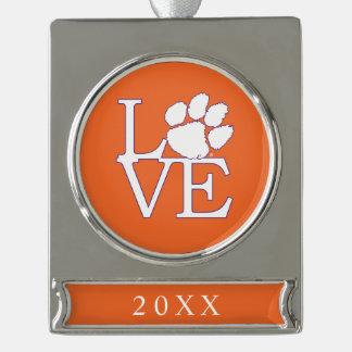Clemson University Love Silver Plated Banner Ornament