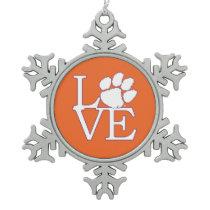 Clemson University Love Snowflake Pewter Christmas Ornament