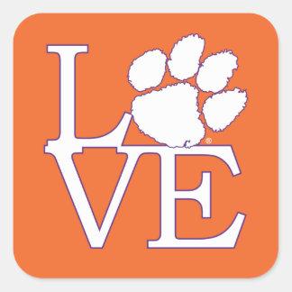 Clemson University Love Square Sticker