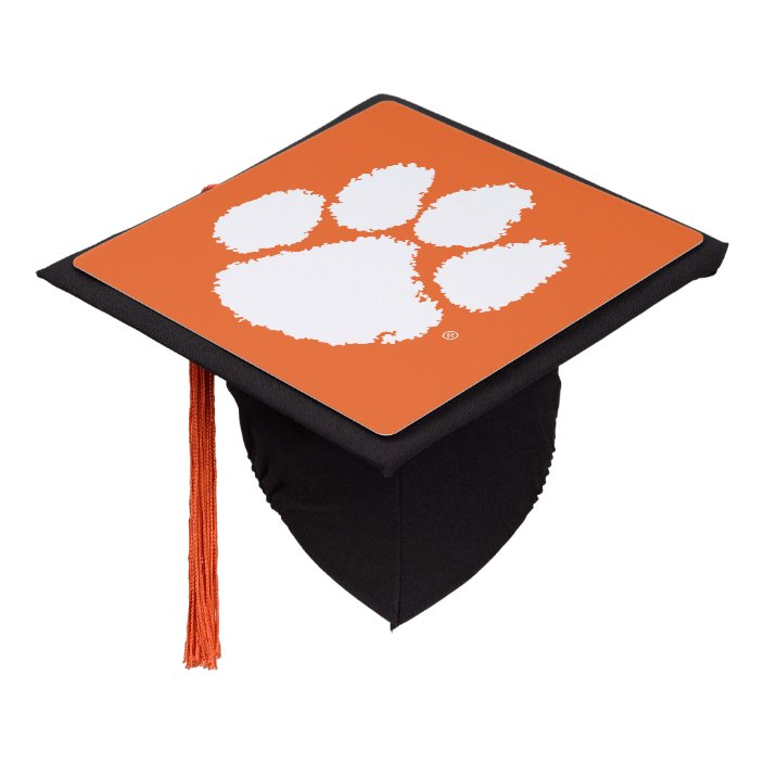 Orange, White and Black Tiger Paw Graduation Cap Topper with an Orange Tassel