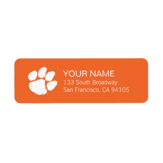 Clemson University Tiger Paw Label