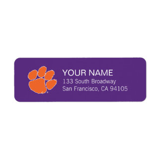Clemson University Tiger Paw Label