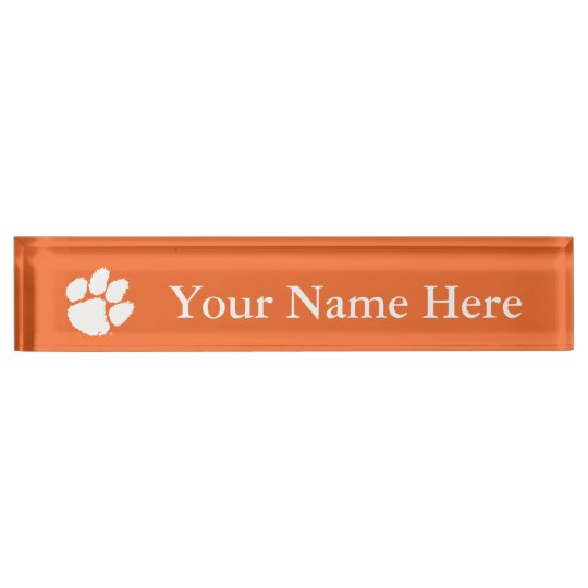 Clemson University Tiger Paw Nameplate Zazzle Com