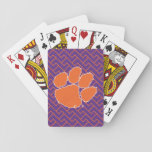 "Clemson University Tiger Paw Playing Cards<br><div class=""desc"">Check out these new Clemson University designs and products! At Zazzle, you can get all of the best Clemson gear to show off your Tiger Pride. All of these products are customizable with your name, class year, or club. They make perfect gifts for the Clemson student, alumni, family, friend, or...</div>"