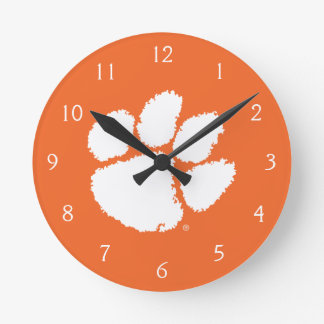 Clemson University Tiger Paw Round Clock