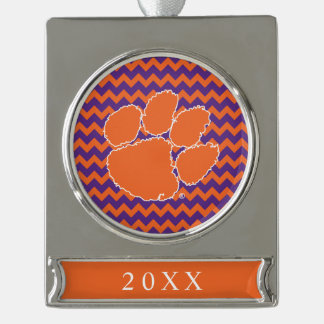 Clemson University Tiger Paw Silver Plated Banner Ornament