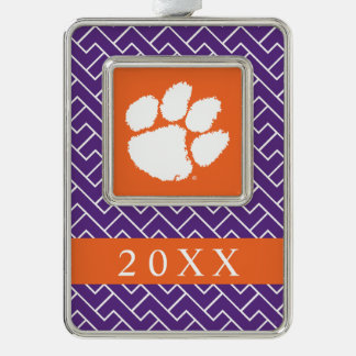 Clemson University Tiger Paw Silver Plated Framed Ornament