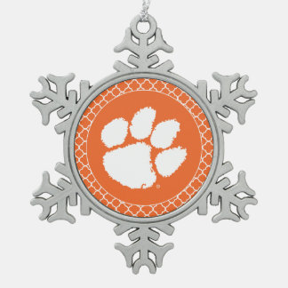 Clemson University Tiger Paw Snowflake Pewter Christmas Ornament