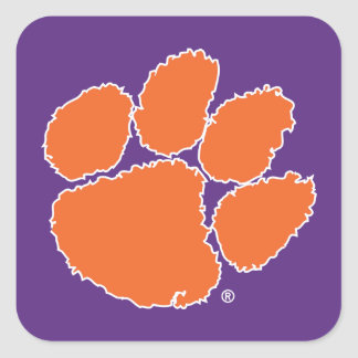 Clemson University Tiger Paw Square Sticker
