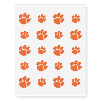 Clemson University Tiger Paw Temporary Tattoos