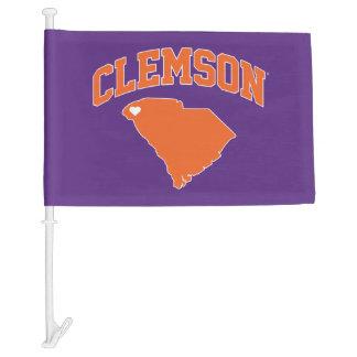 Clemson With South Carolina Car Flag