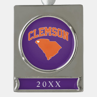 Clemson With South Carolina Silver Plated Banner Ornament