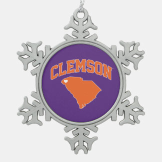 Clemson With South Carolina Snowflake Pewter Christmas Ornament