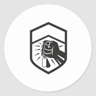 Clenched Fist Holding Dogtag Crest Retro Classic Round Sticker
