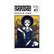 cleo, egyptian, cobra, faerie, goddess, postage, myka jelina, snakes, fairies, black, lace, acrylic, Stamp with custom graphic design