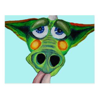 Cleo el perrito del dragón (azul) tarjeta postal