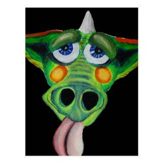 Cleo el perrito del dragón (negro) tarjeta postal