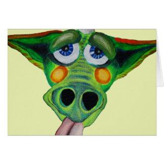 Cleo el perrito del dragón (yllw) tarjeta de felicitación