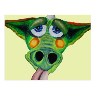 Cleo el perrito del dragón (yllw) tarjeta postal