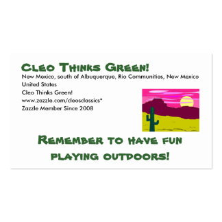 Cleo Thinks Green - Play outdoors Double-Sided Standard Business Cards (Pack Of 100)