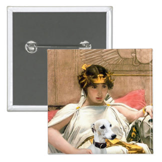 Cleopatra and White Whippet 2 Inch Square Button