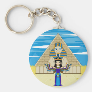 Cleopatra at the Great Sphinx Keycahin Basic Round Button Keychain