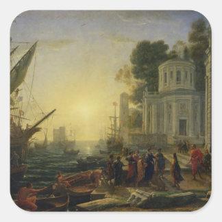 Cleopatra Disembarking at Tarsus, 1642 Square Sticker