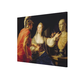 Cleopatra showing Octavius the bust of Julius Canvas Print