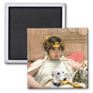 Cleopatra y Whippet blanco Imán Cuadrado