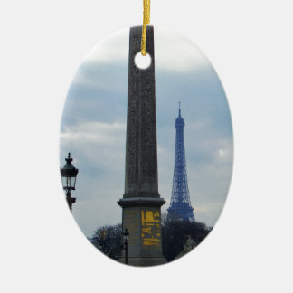 Cleopatra's Needle and Eiffel Tower Ceramic Ornament
