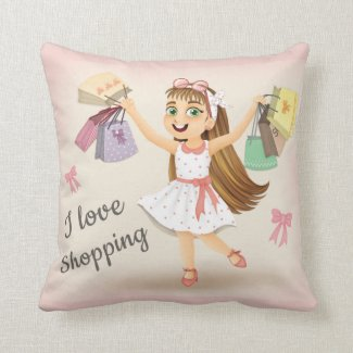 """Cleo's """"I Love Shopping"""" 16X16 Pillow"""