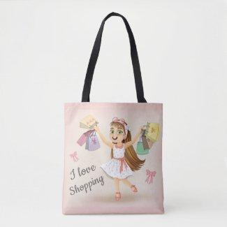 """Cleo's """"I Love Shopping"""" Tote Bag"""