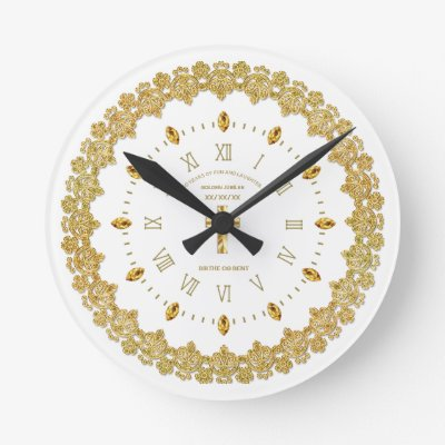 Clergy 50th Golden Jubilee Ordained Anniversary Round Clock