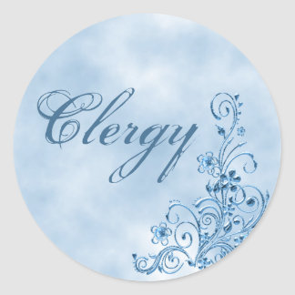 Clergy Envelope Seals: Sky Blue Elegance Classic Round Sticker