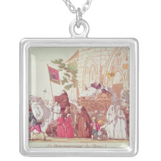 Clergy Leaving the Church after the Sale Square Pendant Necklace