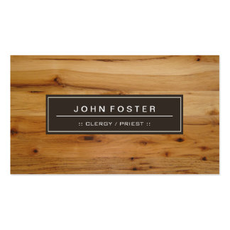 Clergy / Priest - Border Wood Grain Double-Sided Standard Business Cards (Pack Of 100)