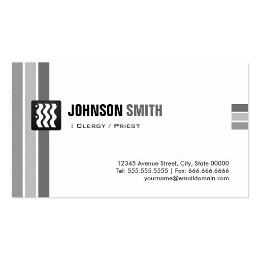 Clergy / Priest - Creative Black White Business Cards